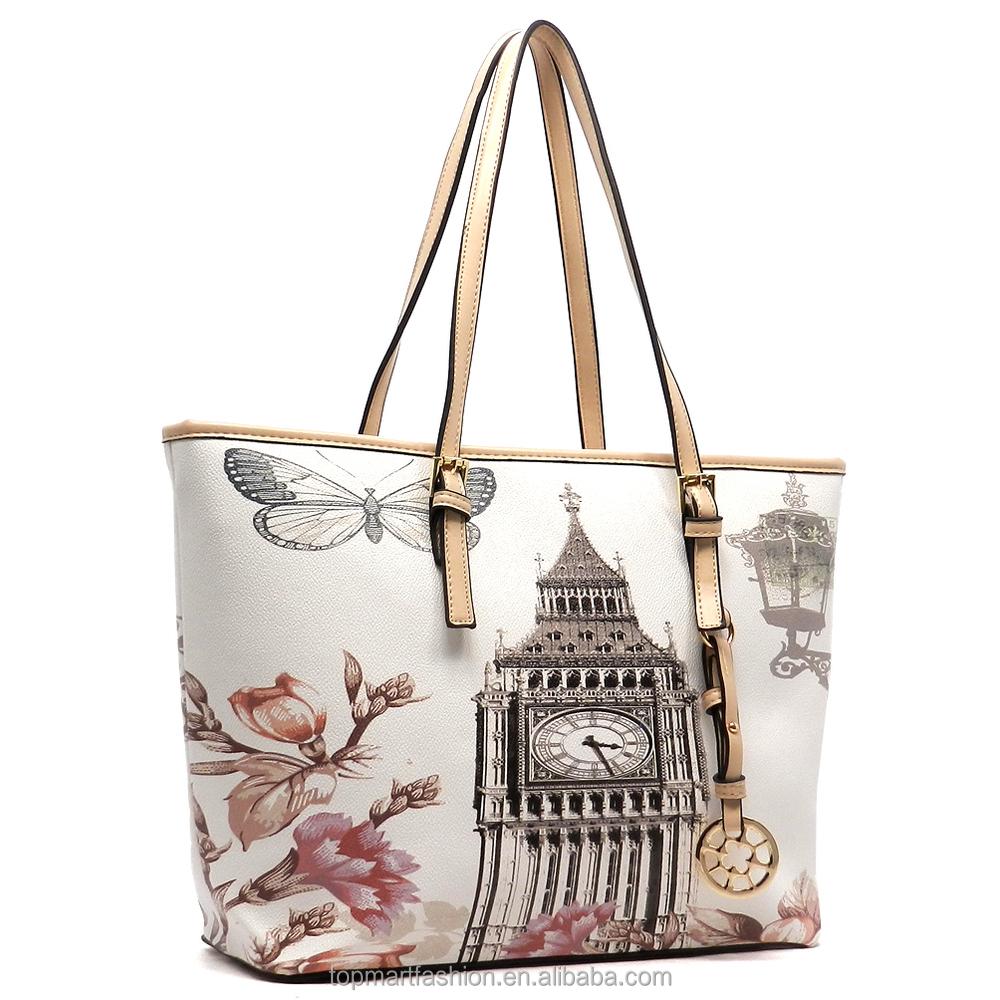 1f5e84aa5d92 2019 Designer Illustration bags wholesale handbags china Pu leahter tote bag