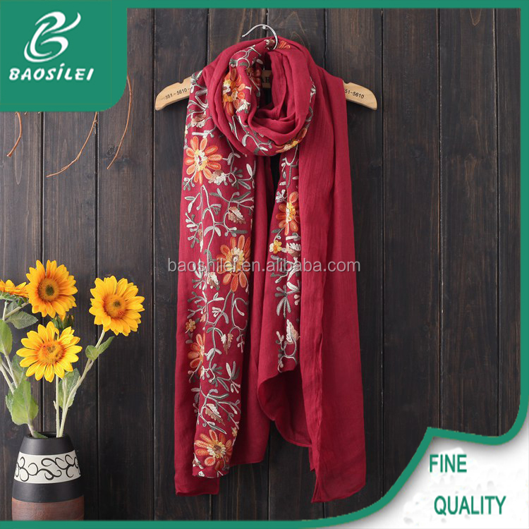 2016 Chinese style fashionable hijab cotton embroidery flowers scarf women hijab