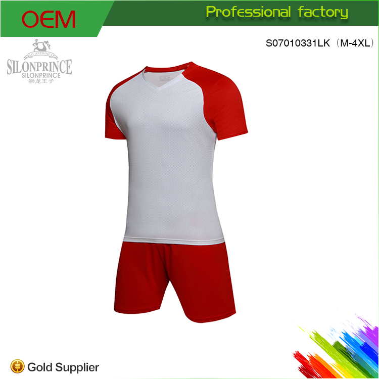 Dry Fit Football Shirts Supply Custom Youth White and Red New Fashion Soccer Jersey
