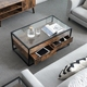 VASAGLE home living room furniture modern antique rustic vintage industrial tempered glass wood center coffee table with storage