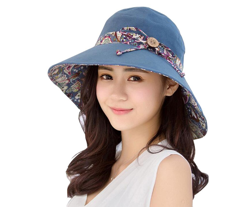 16dbd91ff34 Get Quotations · Womens Summer Sun Hat Bucket Cord Beach Cap Wide Brim  Reversible Beach Hat Foldable Wide Brim