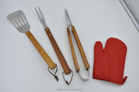 BBQ tools kit with Apron and gloves easy carry simple barbecue set long handle bbq tools