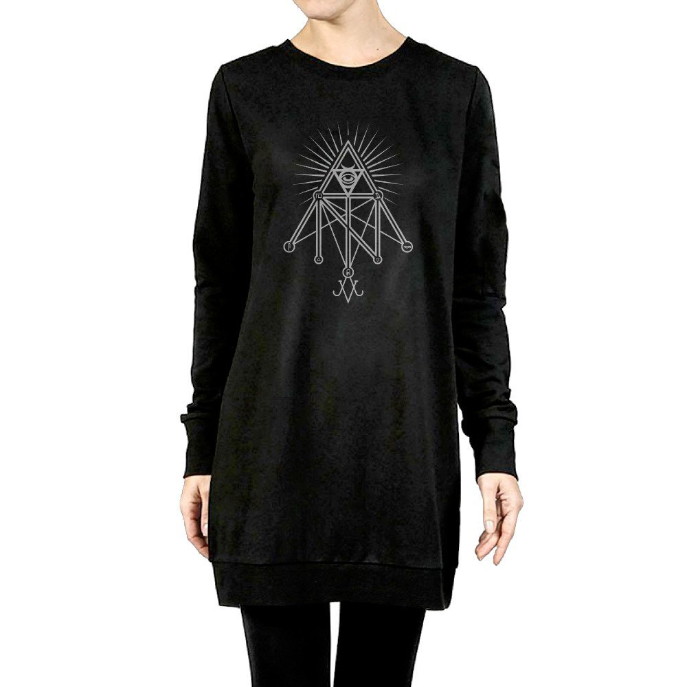 Get Quotations · Women s Illuminati Occult Geometric Satanic Symbol Tunic  Pullover Hoodie ff97fe42291a