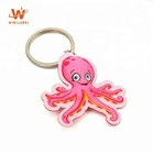 Wholesale Customized Souvenir Promotion Cartoon Fabric Octopus Damask Woven Logo Keychains