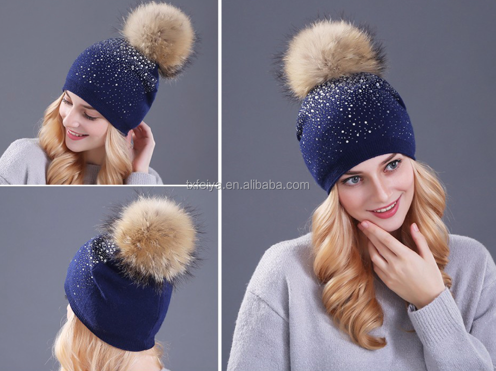 6e6086fa7ac Bling Bling Women Knit Hat with Fur Pompom Crystal Sparkling Crochet Hats