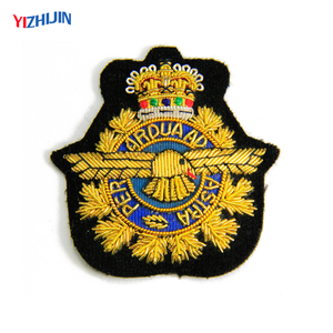 Custom British Military Embroidered Coat of Arm Bullion Wire Blazer Badges