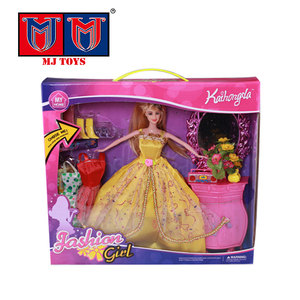 plastic PP family dressing set toy fashion doll for girl dress games