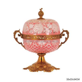 ornate gilt engraved brass mounted glass candy jar pink crackle