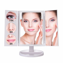 Touch Screen Dual Power Supply Adjustable Stand Desk Trifold Led Lighted Makeup Mirror with Magnifying Mirror