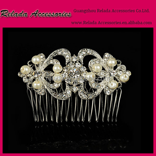 Wholesale wedding rhinestone embellishments Magic stretch beaded metal hair comb with ivory pearl