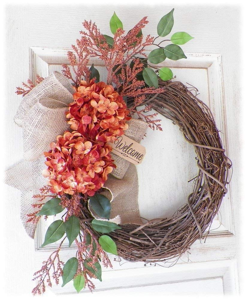 Autumn Welcomer - Orange - Burlap Welcome Wreath for Front Door - Thanksgiving Holiday Fall Wreath