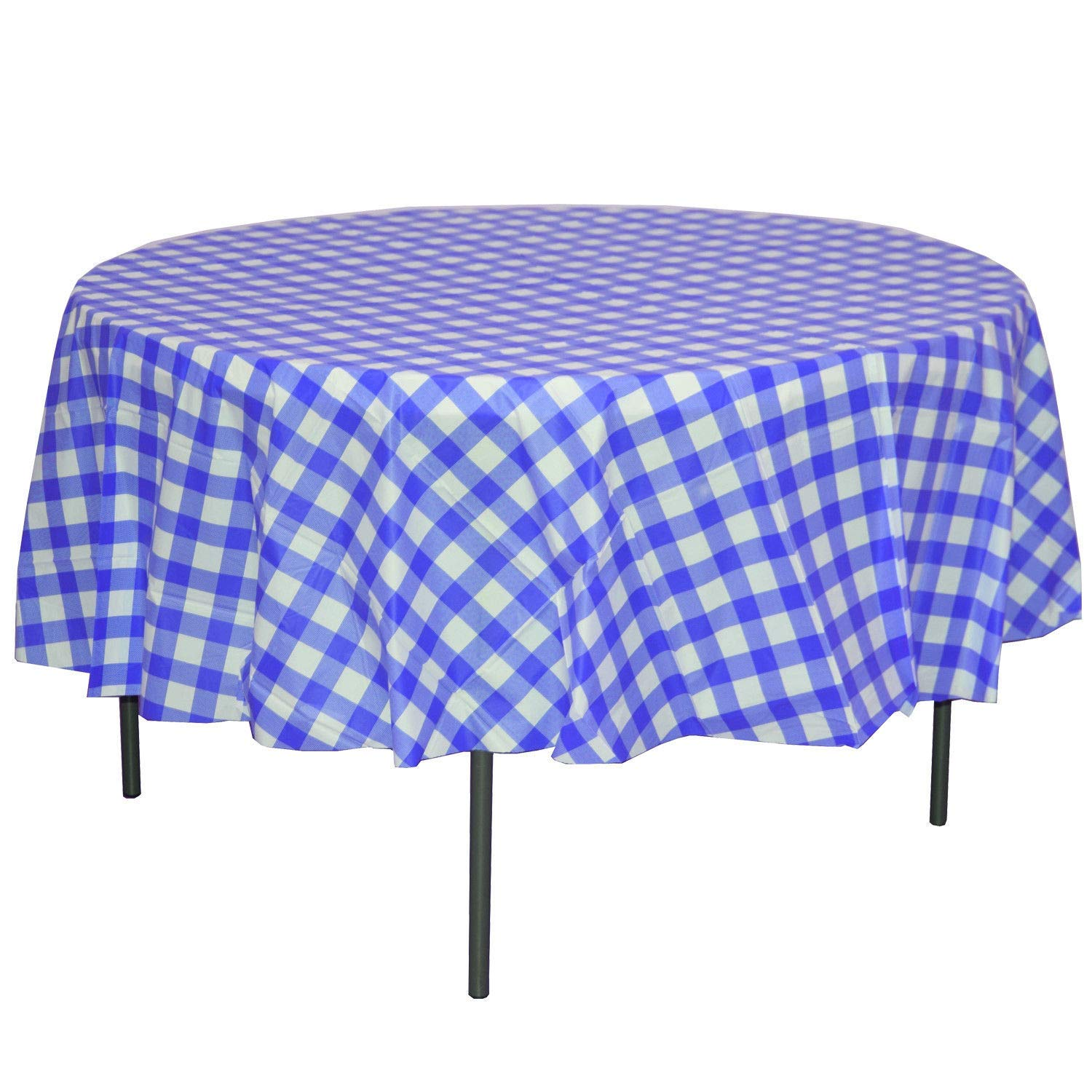 "12 Blue Gingham 84"" Round Plastic Tablecloths Tablecovers Disposable Gingham"
