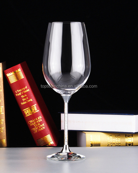 Wholesale 550 ml Goblet crystal stylish red wine glasses/ drinking glasses wine aluminium foil for patty