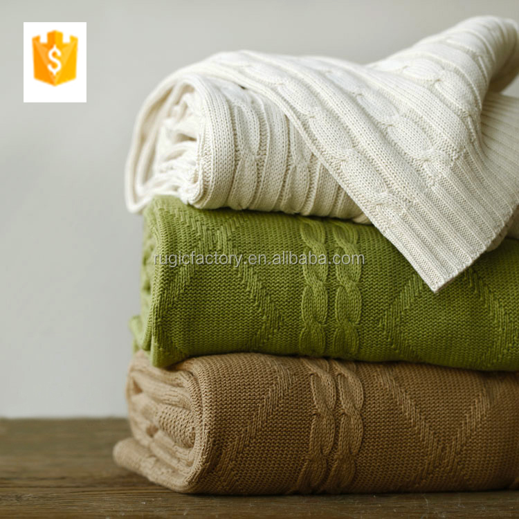 High Quality 100% Cotton Fashion Knit Snuggle Blanket For Adults