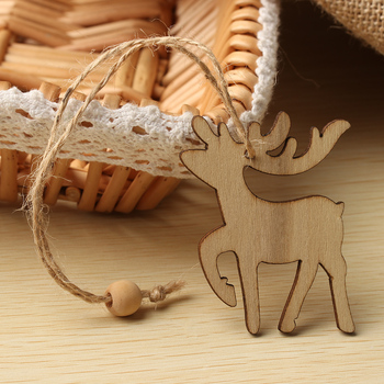 Christmas Wooden Pendants Deer&Bell Ornaments DIY Christmas Party Decorations Xmas Tree Ornaments Kids Gifts Supplies