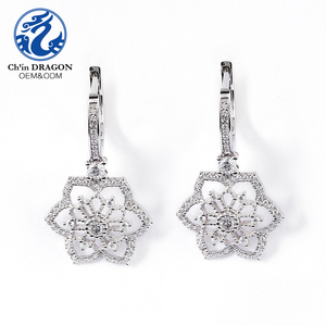 Hot Sale 925 Sterling Silver Jewelry Flower Earrings
