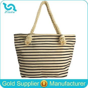 Stripe Canvas Beach Tote Bag Wholesale/canvas Rope Handle Beach ...