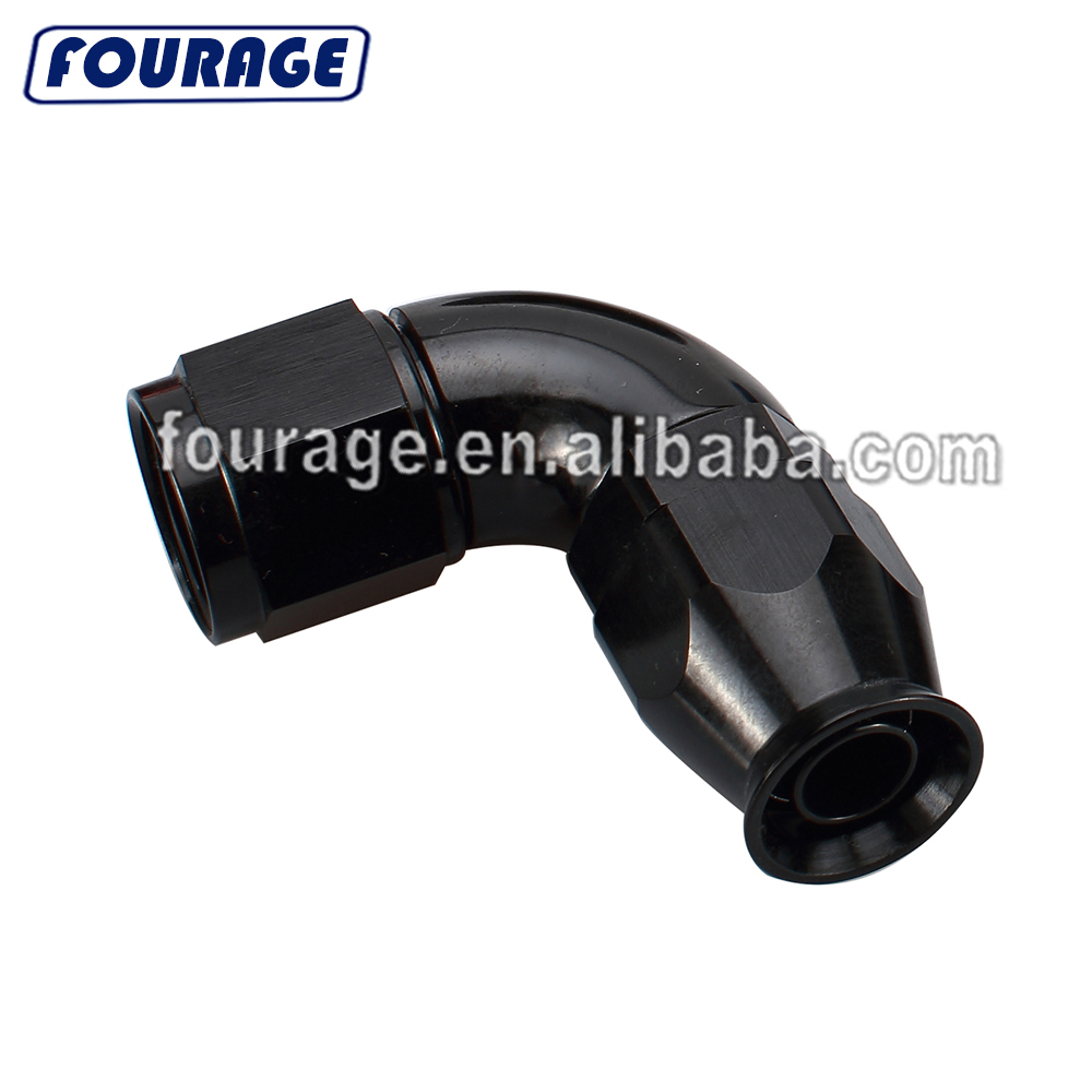 4AN Female Swivel 90 Degree Elbow Aluminum 4 AN Hose End Low Profile Forged Fittings Black