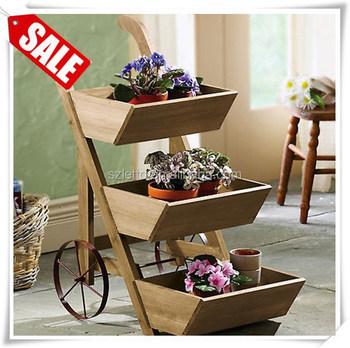 Outdoor Flower Wagon Wheeled Garden Display