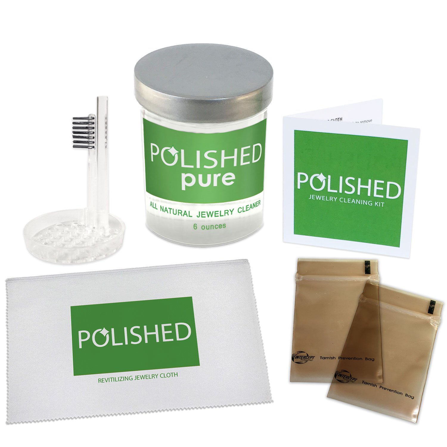 Polished All-Natural Jewelry Cleaner Kit - No Ammonia Jewelry Cleaning Solution, Polishing Cloth + 2 Anti Tarnish Bags   Safe on Skin, Made in USA, Diamond Ring Cleaner, Sapphire, Ruby, Gold Cleaner