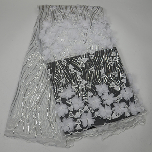 African wedding dress 3d flower tulle french net lace fabric embroidered beaded sequins swiss lace