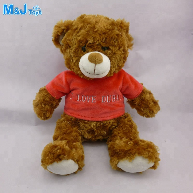 plush brown Teddy Bear with red T shirt Stuffed bear toy