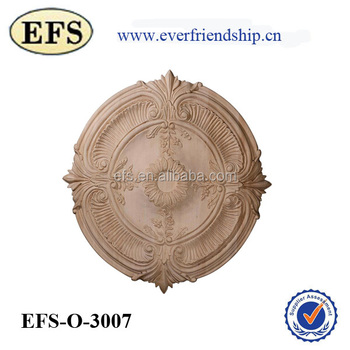 Attirant Hand Carved Acanthus Leaf Shape Decorative Solid Wood Medallion