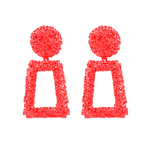 Kaimei korea alibaba best selling products 2018 in usa fashion metal big red painted geometric dangle square earrings for women