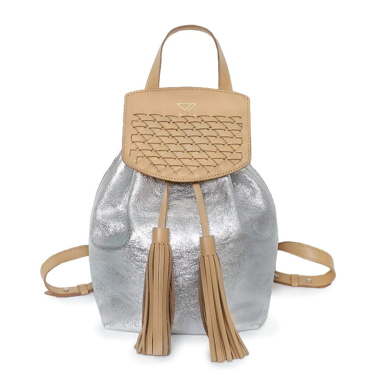RAYEN metallic silver leather backpack | Personalized tan silver backpack