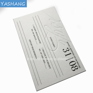 White paper card with 3d letterpress printing luxury wedding card invitations,wedding card material