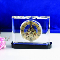 Personalized optical crystal mechanical skeleton clock with stand