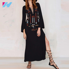womens fashion Ethnic Flower Embroidery Deep V-neck Hippie Boho long dress