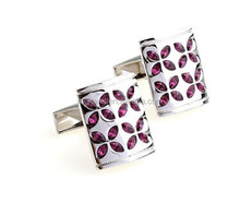 Shiny polished silver red rhinestone cuff-links