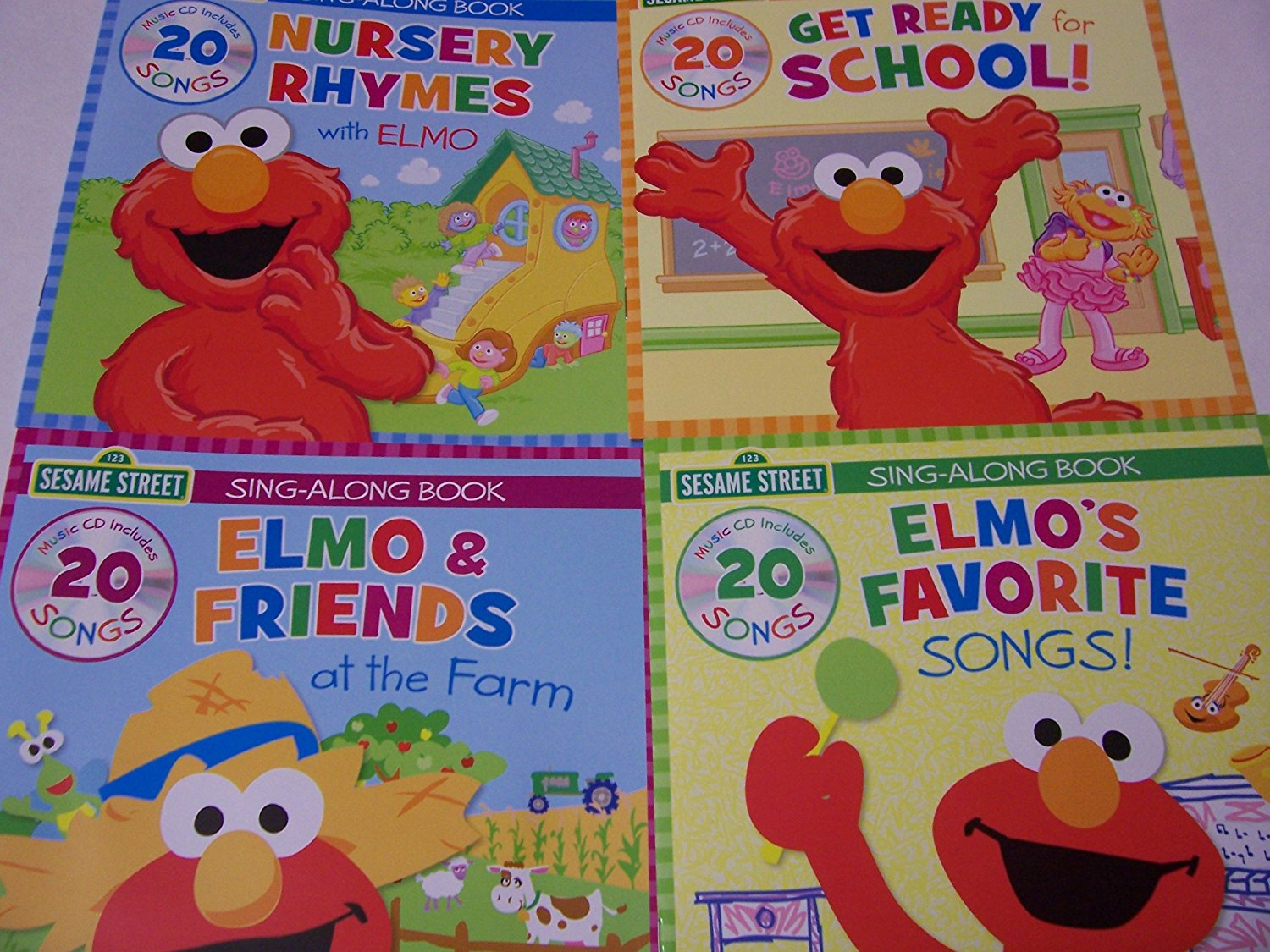 Sesame Street Educational Sing Along With Elmo 4 Book Set Nursery Rhymes Get Ready