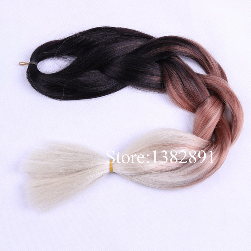 Buy 5pcslot Ombre Braiding Hair Three Tone Blackbrownblonde Ombre