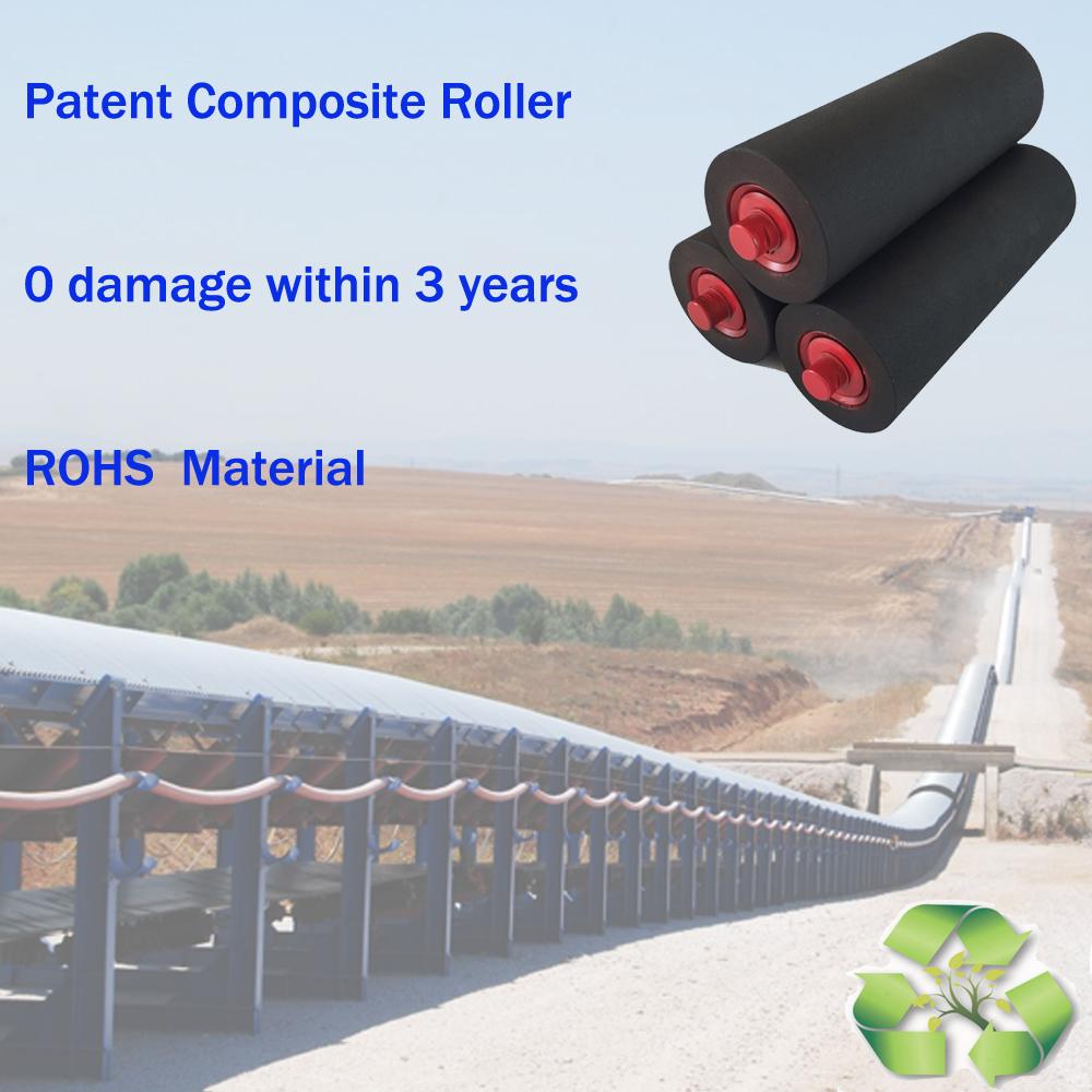 127mm diameter conveyor composite idler roller for bulk material handling system