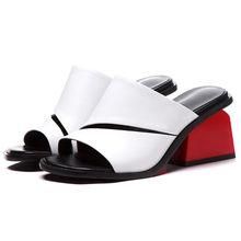 ANNYMOLI женские летние слиперы из коровьей кожи, на высоком каблуке, с открытым носком, странные стильные женские модные туфли, большие размеры...(Китай)