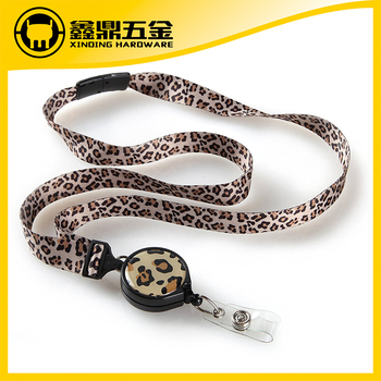 Retractable badge holder lanyard with epoxy sticker logo