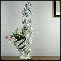 Customized Lady Figure Fancy Vases Art Fat Ladies With Tray For Bar And Lounge Furniture