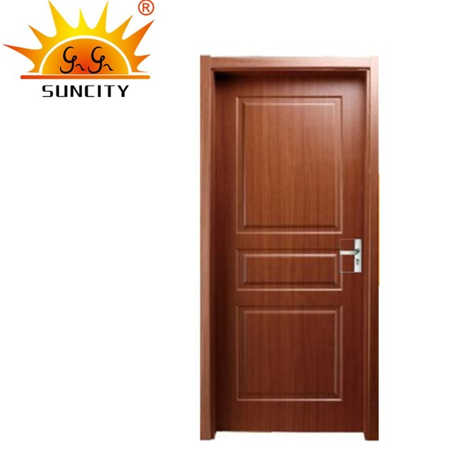 SC P177 Latest Bathroom Flush Door Design With Glass PVC MDF Wooden