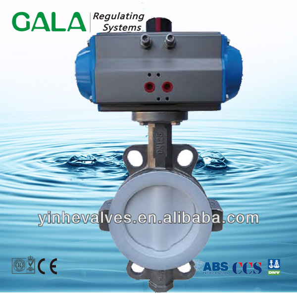 api sealed stainless steel pneumatic butterfly valve wafer