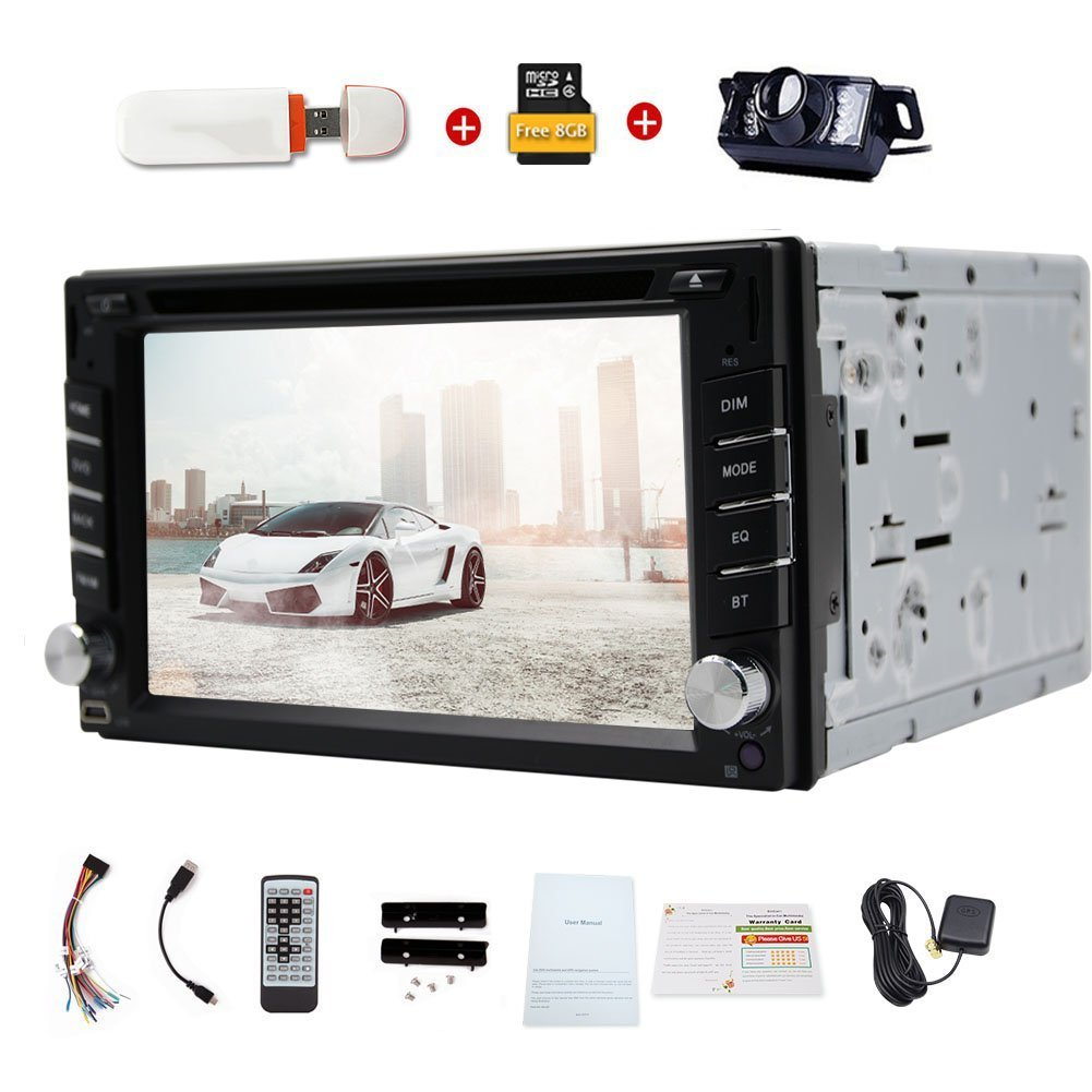 Hot Sale Universal Double din car dvd player gps Car Electronics 2 din car radio Bluetooth Free Map Card 3g Dongle for Internet In dash car Stereo am/fm +Free rear camera