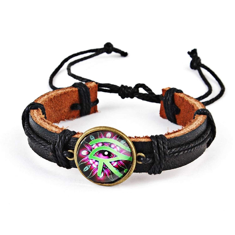JSPOYOU Promotions! Mens Womens Braided Leather Eye Rope Bracelet Braid Band Hemp Rope Bracelet