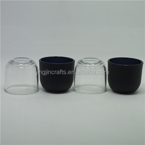 Sprayed colored hand cut glass candle jar and holder  bohemia style glass candle
