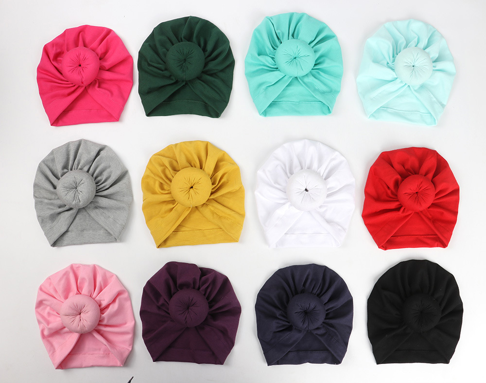 Fashion Donut Baby Hat Newborn Elastic Cotton Baby Beanie Cap Multicolor Infant Turban Hats  Solid Toddler Kids Hat Cute Kid Hat