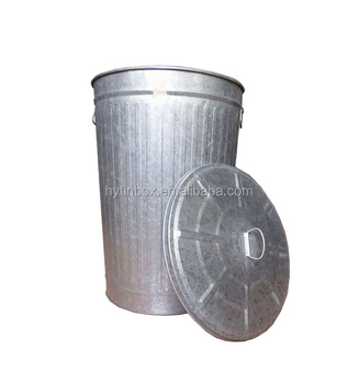 Large Capacity 100Litres 120Litres Galvanized Steel Metal Trash Cans Storage  Bins With Lid And Handle