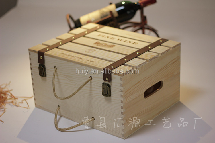 6 Bottles Pine Wood Wine Box Wine Bottle Gift Box Trunk Crate And Case Buy Gift Boxes For Wine Bottles Christmas Wine Bottle Gift Box Decorative