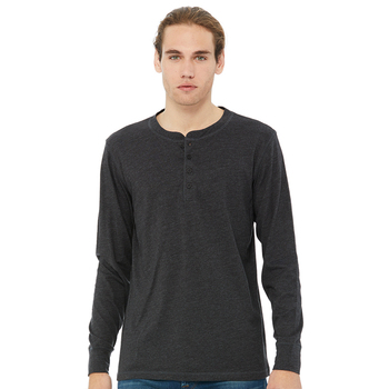 Men's jersey 100% cotton long-sleeve henley shirts