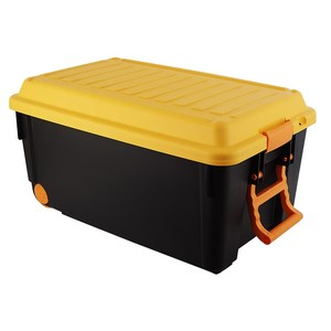 65L trunk organizers,plastic storage trunk with two wheels