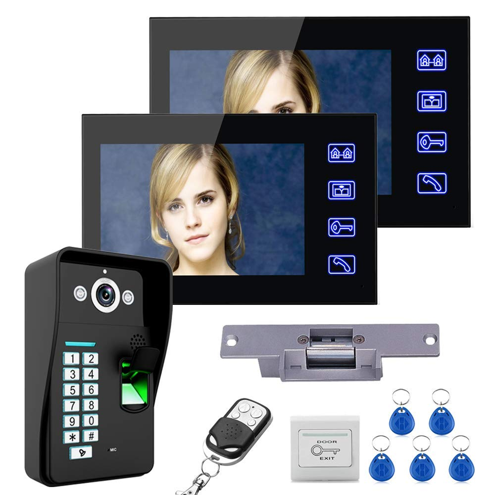 "MAOTEWANG 2 Monitors 7"" LCD Fingerprint Recognition Video Door Phone Doorbell Intercom System kit + Electric Strike Lock+ Wireless Remote Control Unlock+Cable (15m)+Door Lock Access Control System"